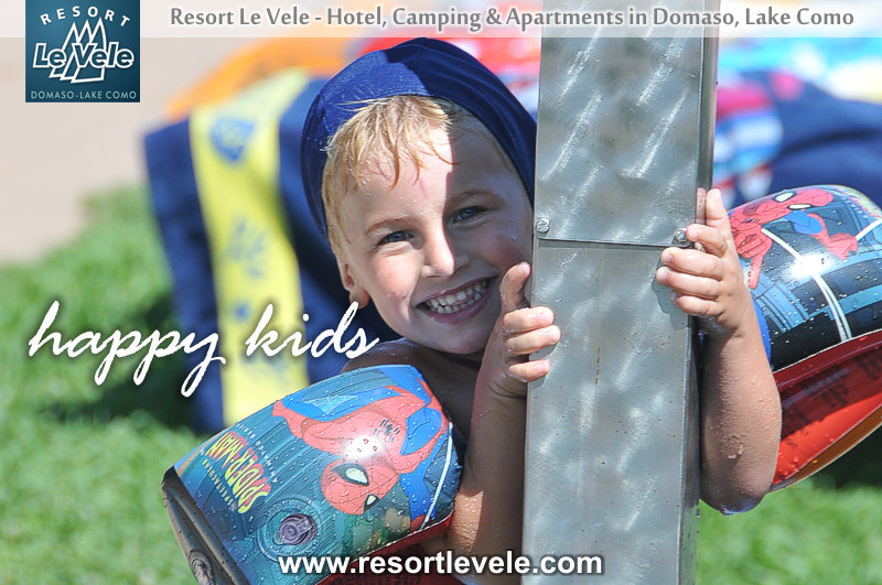 happy kids swimming pool camping domaso